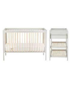 Troll Lukas 2PC Cot Bed and Changing Table - Soft Grey/Natural