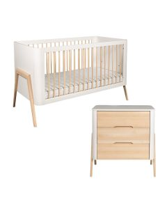 Troll Torsten 2PC Set Cot Bed and Dresser - White/Natural