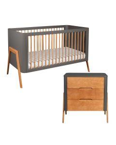 Troll Torsten 2PC Set Cot Bed and Dresser - Grey/Teak
