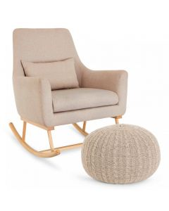 Tutti Bambini Oscar Rocking Chair and Pouffe Set - Stone