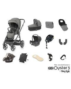 BabyStyle Oyster 3 Ultimate 12 Piece Cabriofix Bundle - City Grey/Mercury
