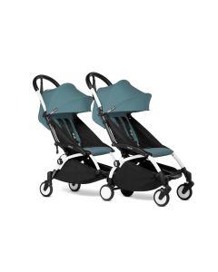 BABYZEN YOYO2 Double Pushchair from 6 Months+ for Twins - White/Aqua