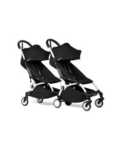 BABYZEN YOYO2 Double Pushchair from 6 Months+ for Twins - White/Black
