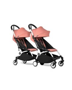 BABYZEN YOYO2 Double Pushchair from 6 Months+ for Twins - White/Ginger
